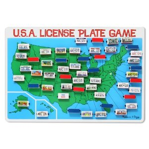fun travel games, license plate game